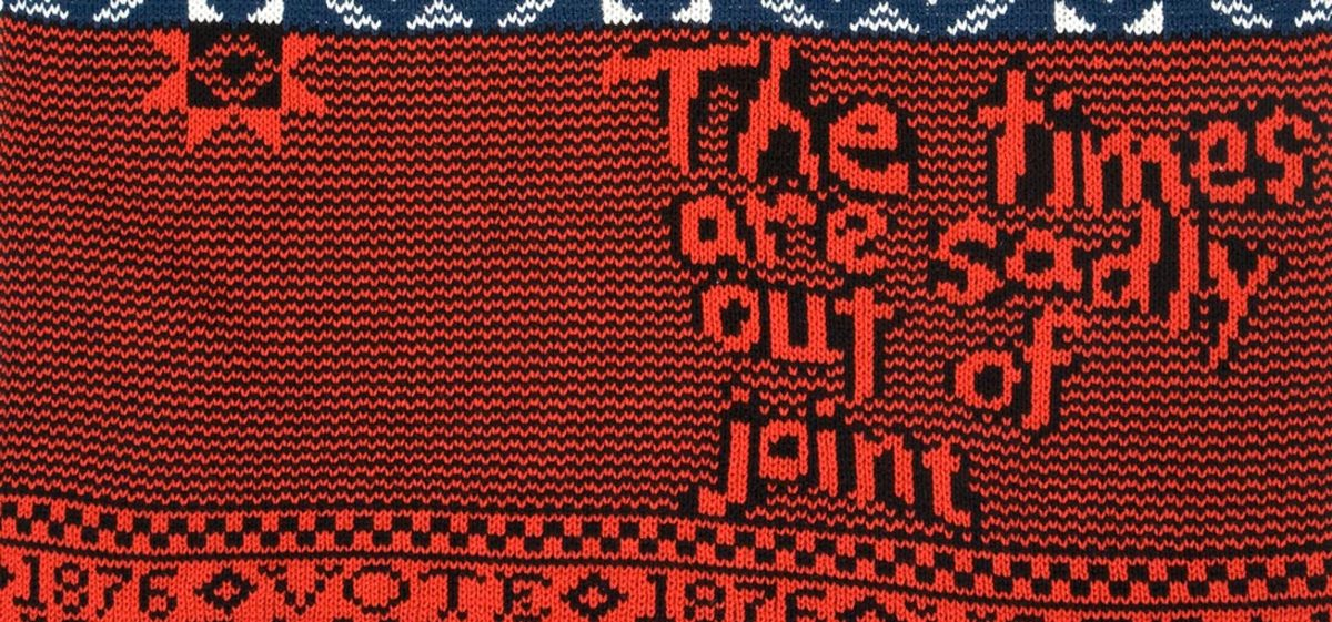 Hayes/ Tilden 1876 Campaign Sweater (detail) wool, 2008. Image courtesy the artist