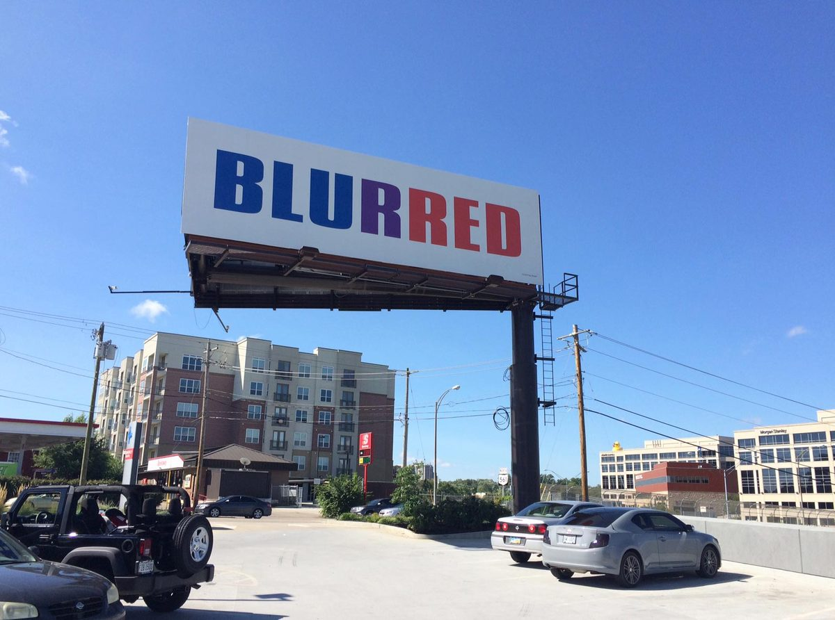 BLURRED, 2004/2014. Installed on I-71 East in Cincinnati, Smith Road exit.
